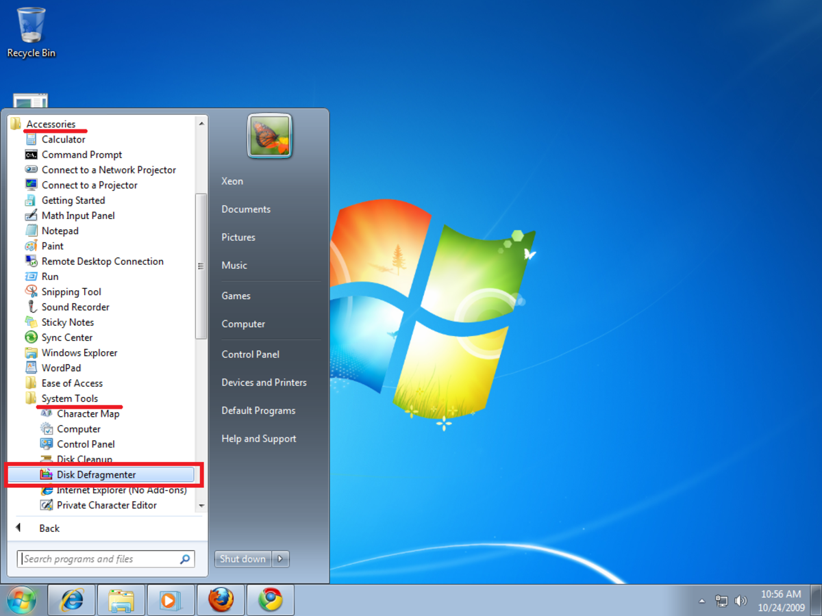 Opening Disk Defragmenter form start menu in Windows 7