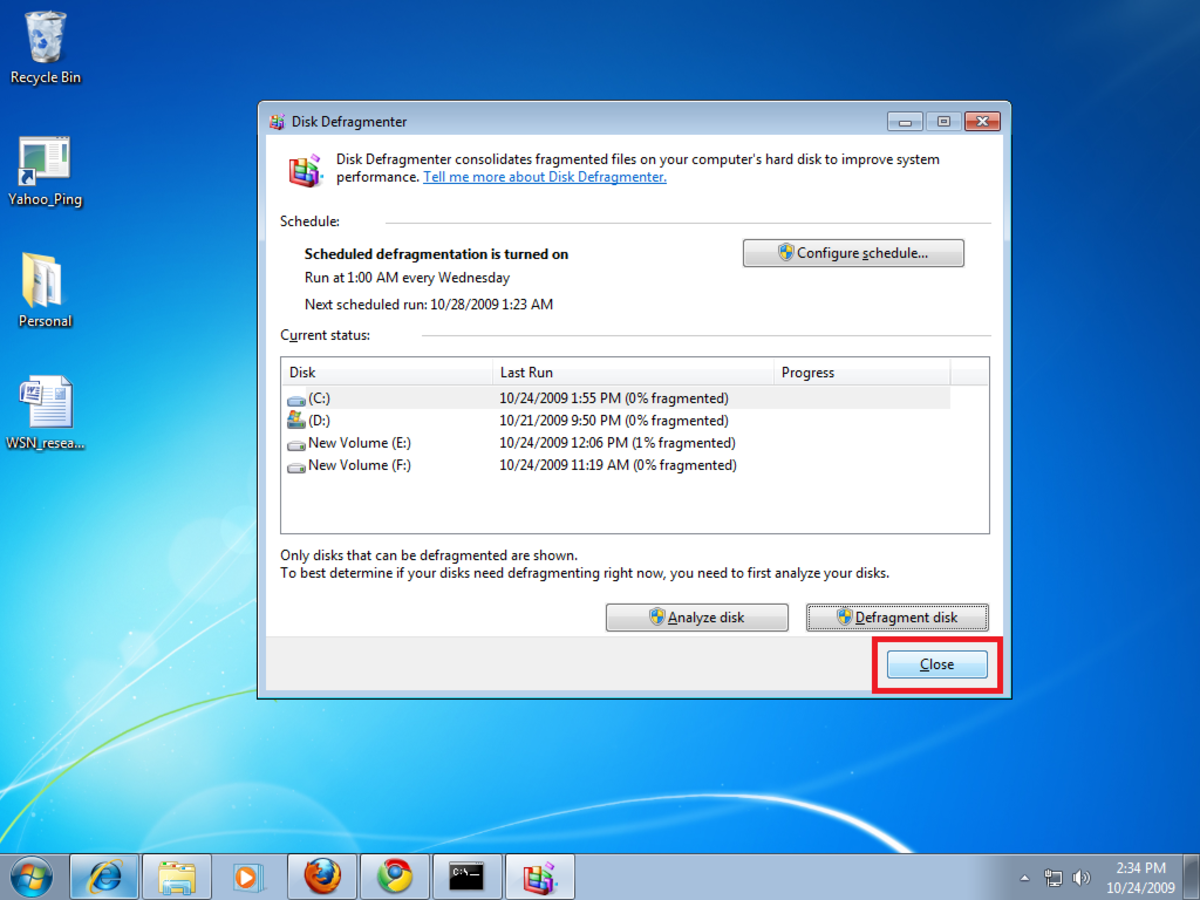 how to use disk defragmentation in windows 7