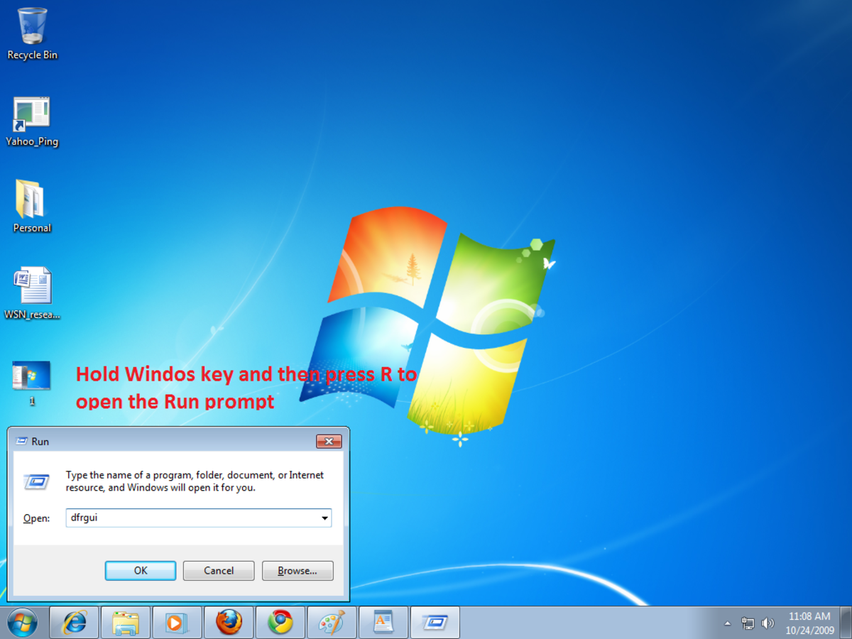 Opening Disk Defragmenter form run menu in Windows 7
