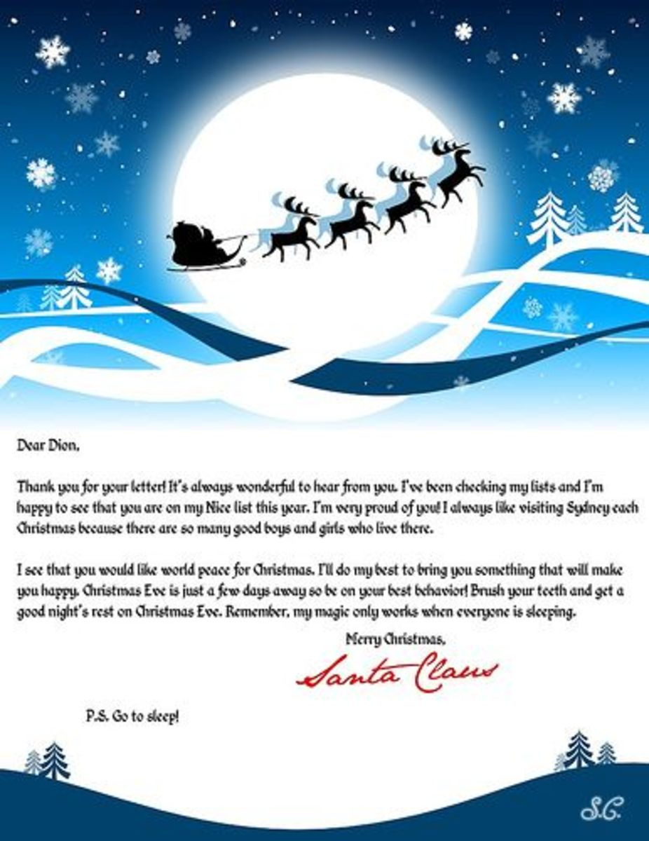 free letter from Santa Claus