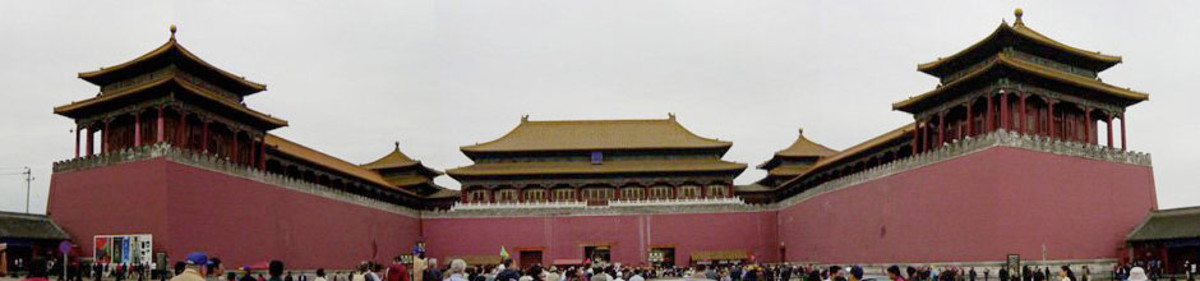 panoramic view of the Meridian Gate in the Forbidden City: Beijing China.