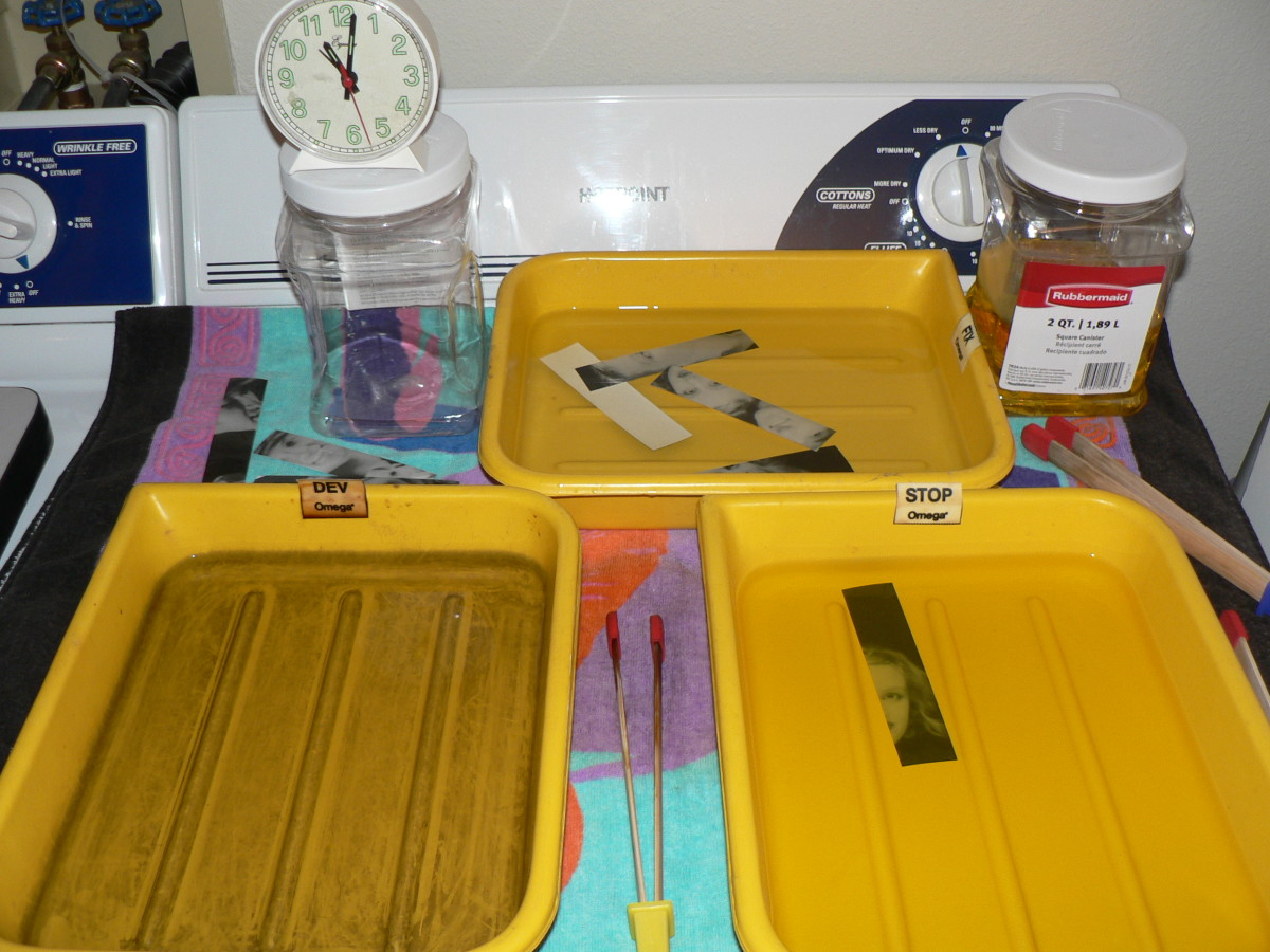 Darkroom Basics - Trays with developing chemicals. Developer, Stop Bath, Fixer