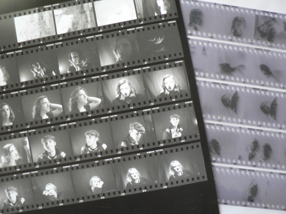 Thumbnail sized prints on contact sheet and negatives in archival holder.
