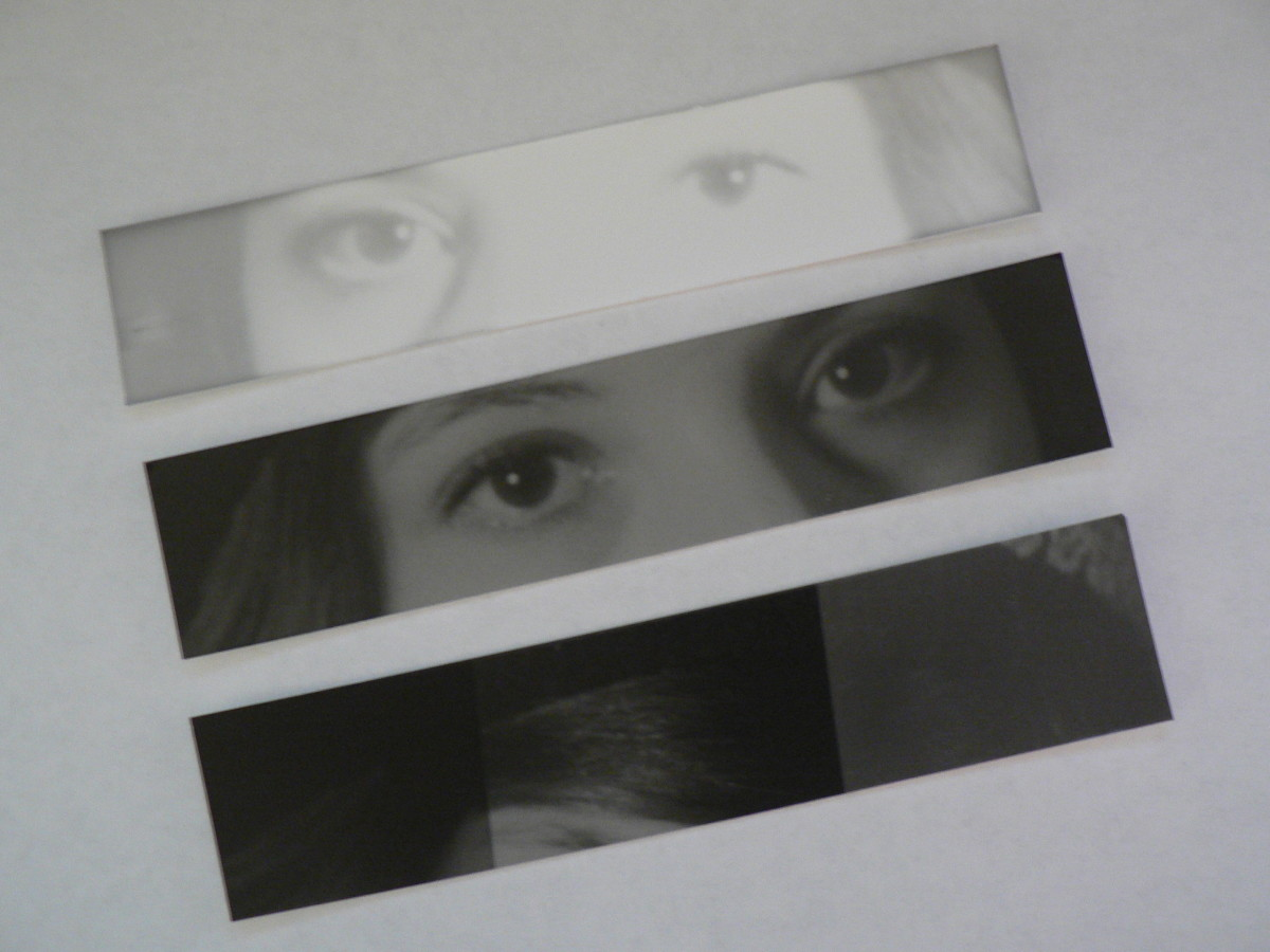 Test strips used to determine how long to expose the photo paper.