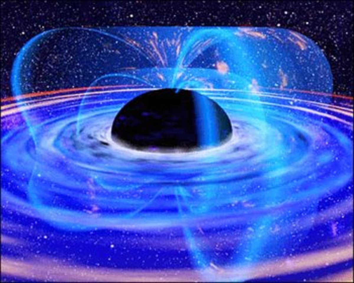 Super massive black holes effect surrounding space around them. Stars nearby will orbit at high velocity.