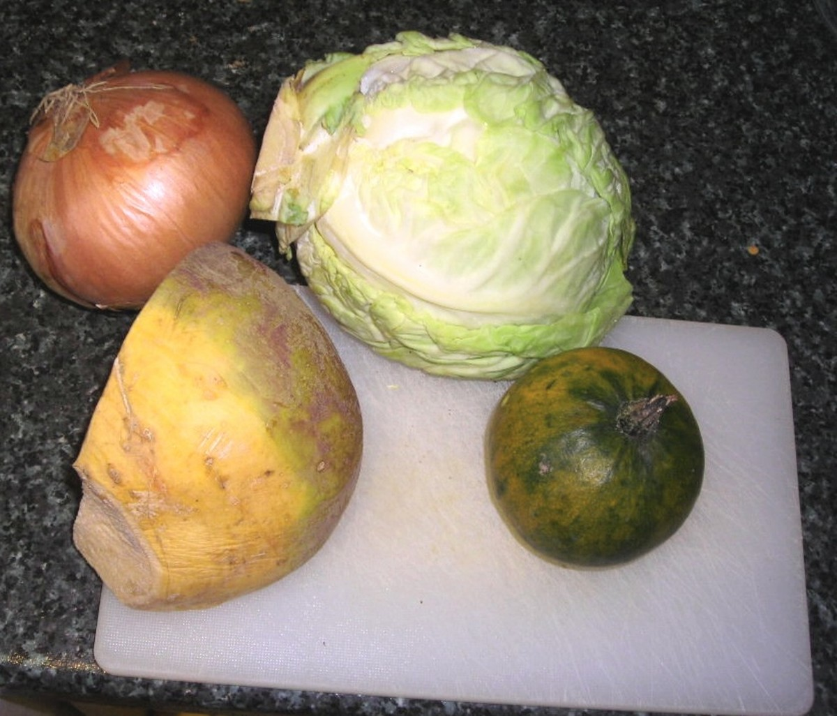 Cabbage, swede and gem squash