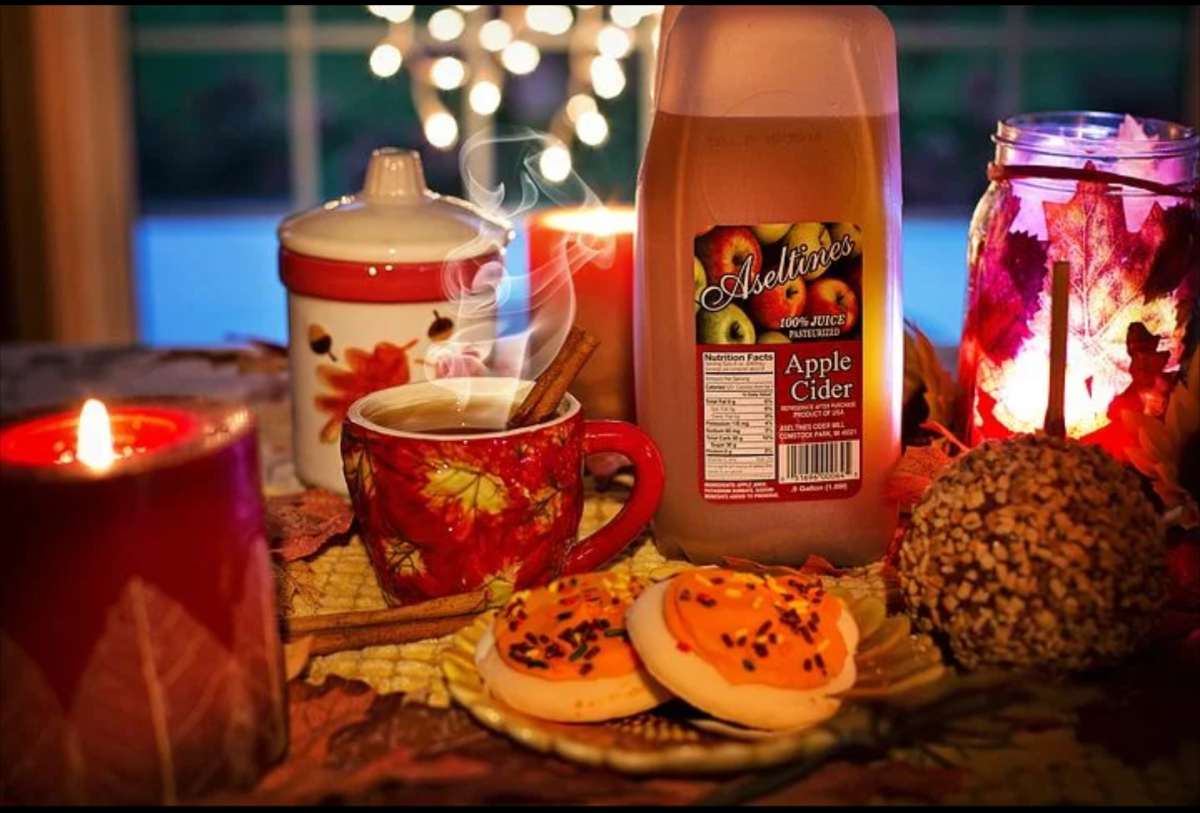 Hot cider and cookies on a cool fall evening are a delicious snack.