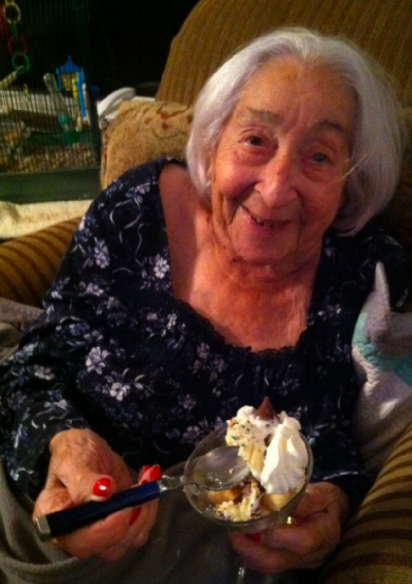 A satisfied dessert shooter customer - my darling 95 year old Mom, Gertie - 1 month after hip surgery!