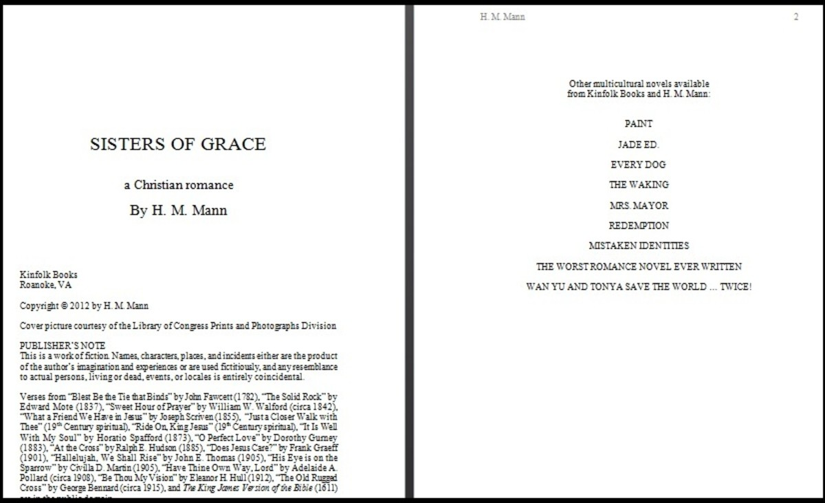 "Sample title page on the left, list of other novels on the right. Notice the ""publisher,"" copyright information, and publisher's note on the title page."