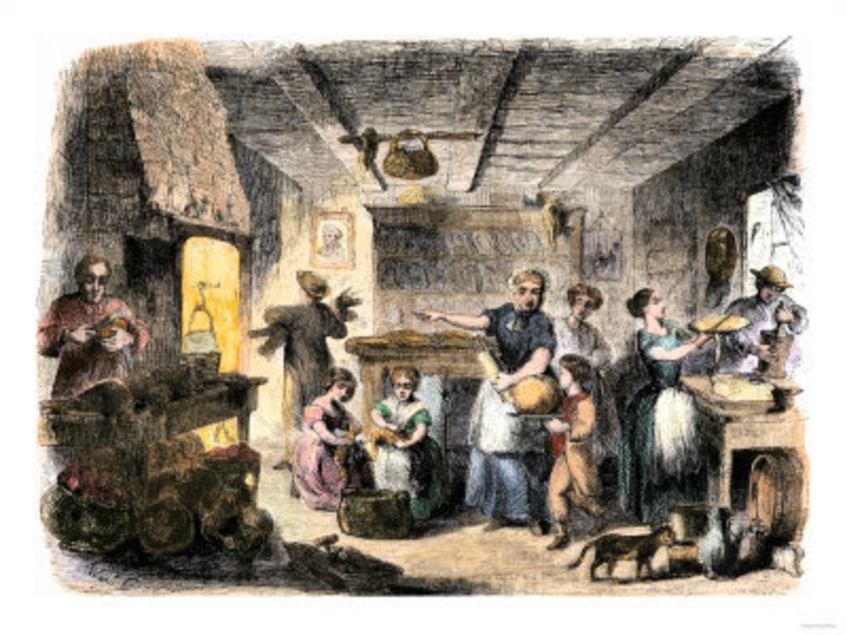 Family Preparing Dinner, 1850's