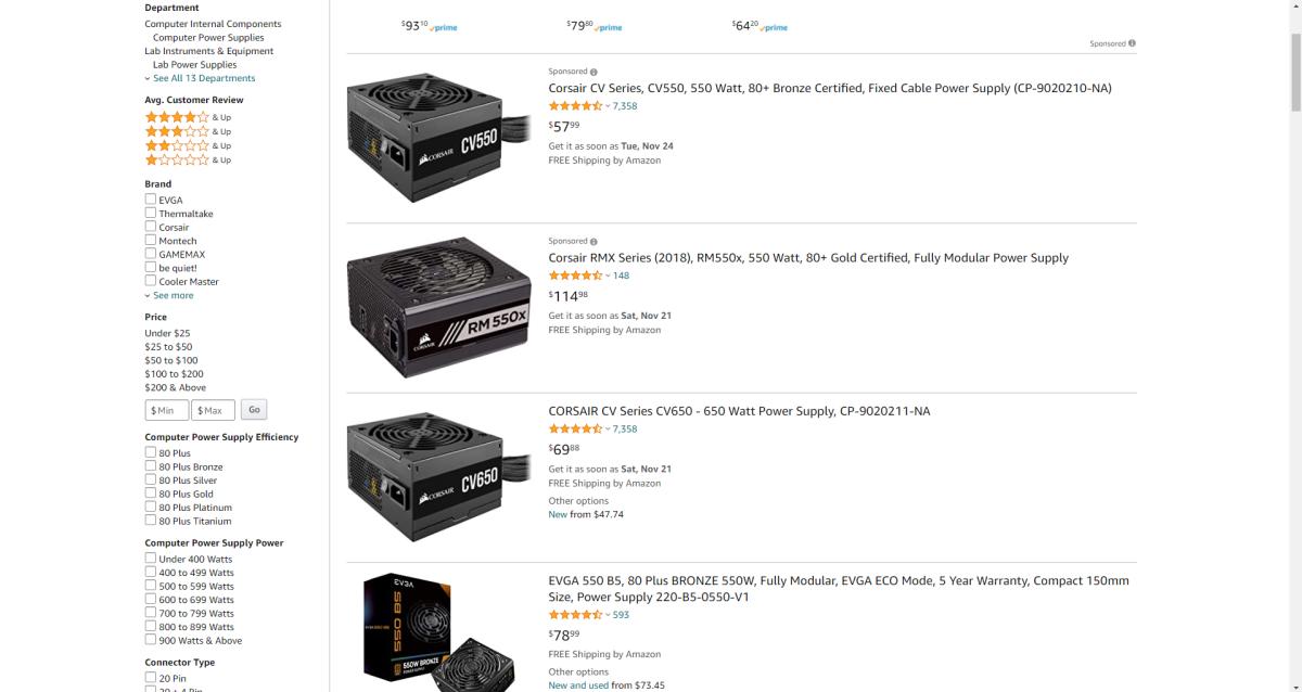 Sensible power supplies should cost around 100 dollars.