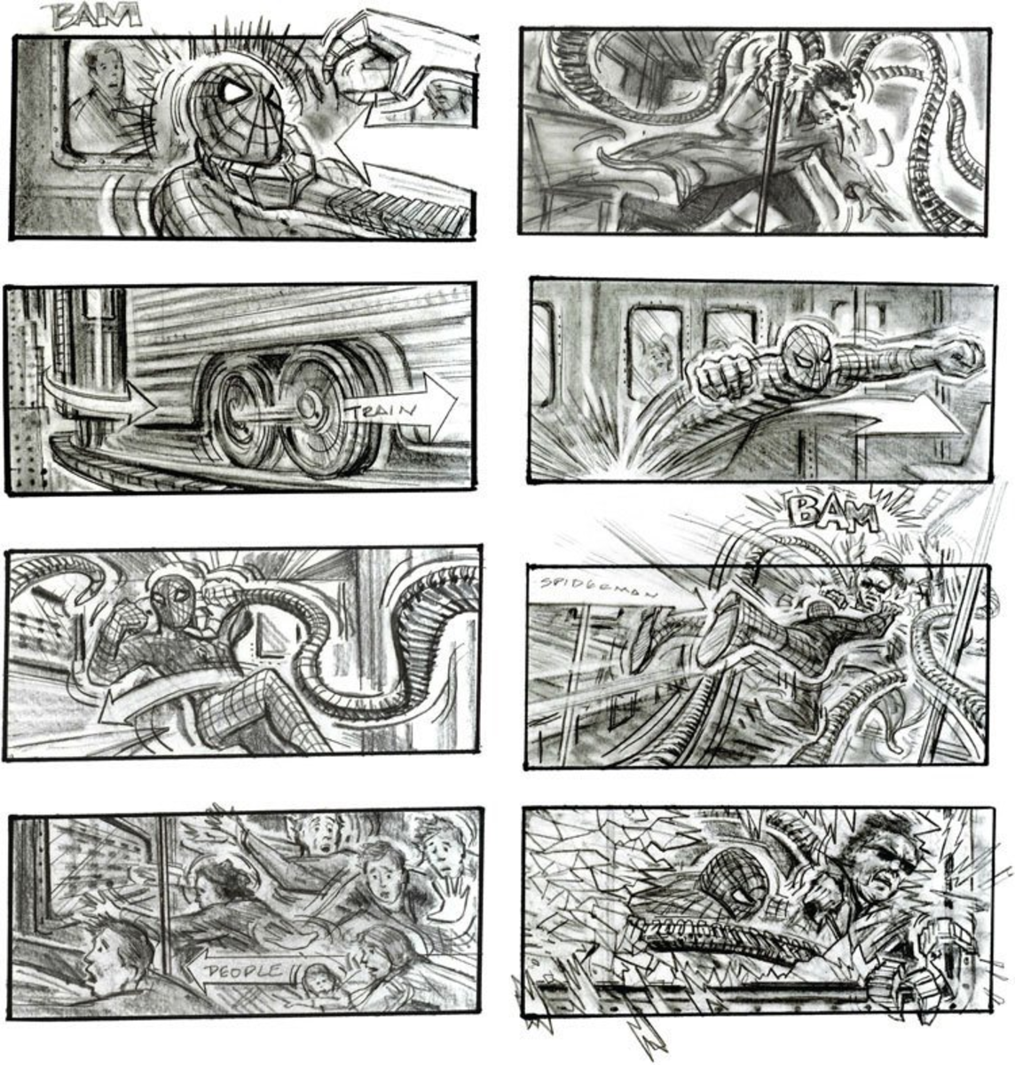 Storyboard from Spider-man 2 in 2004