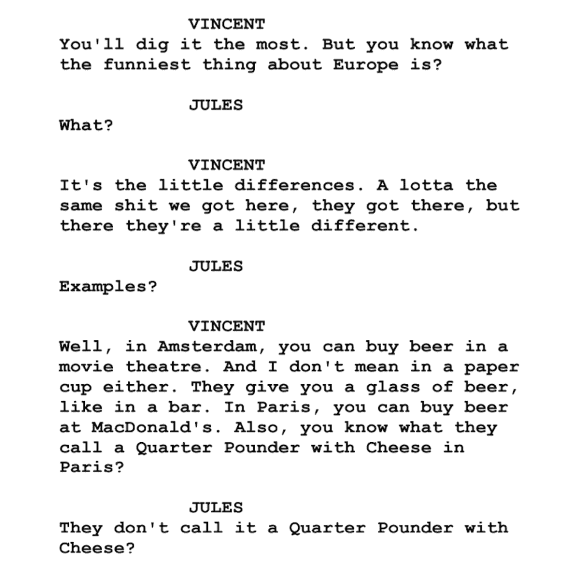 Script from Pulp Fiction in 1994
