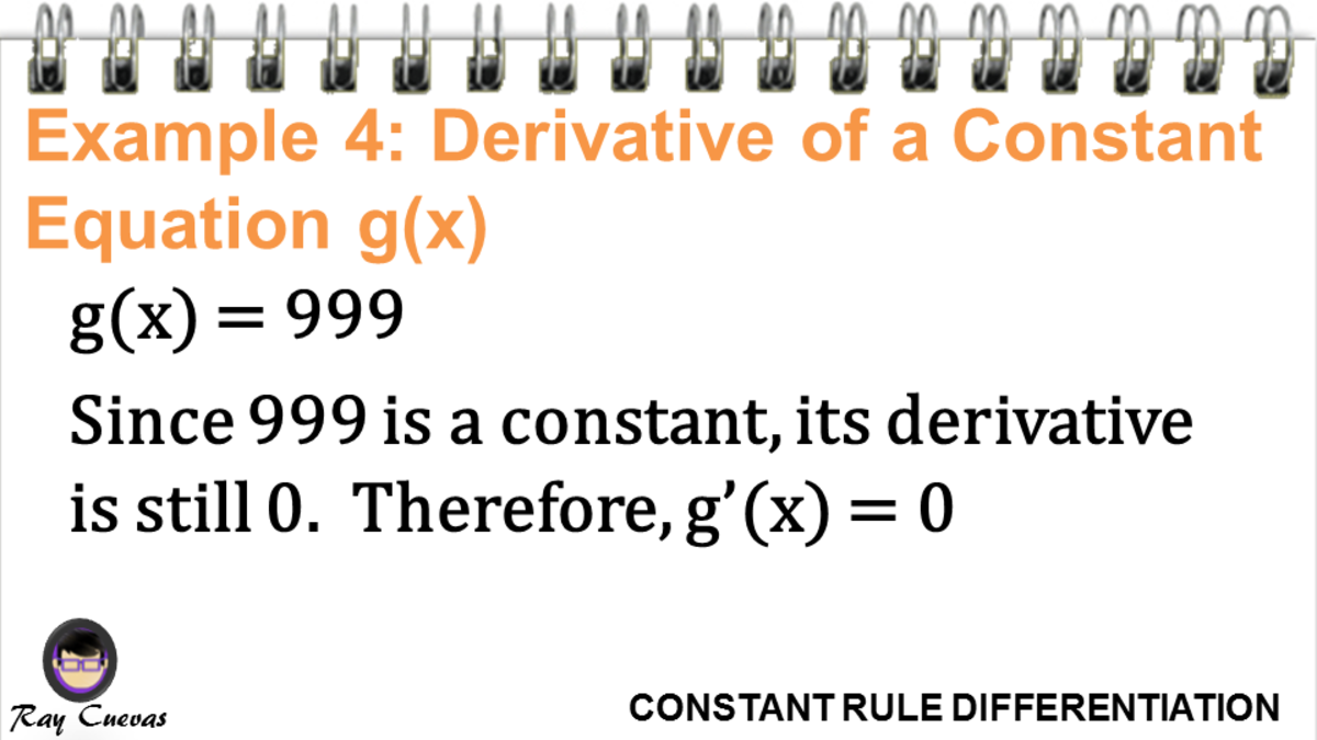 Example 4: Derivative of a Constant Function G(X)