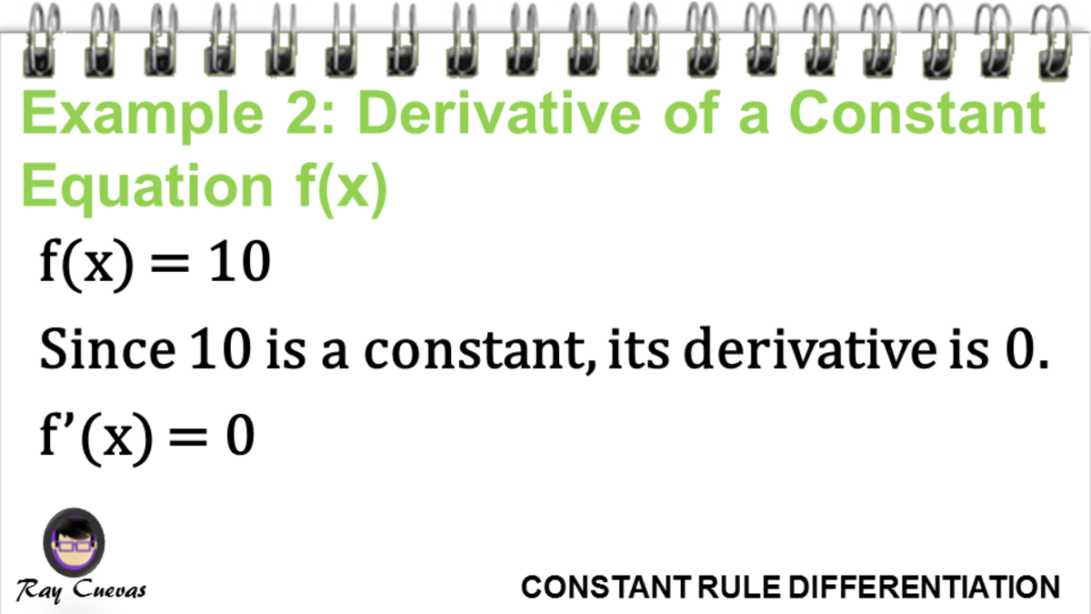 Example 2: Derivative of a Constant Equation F(X)