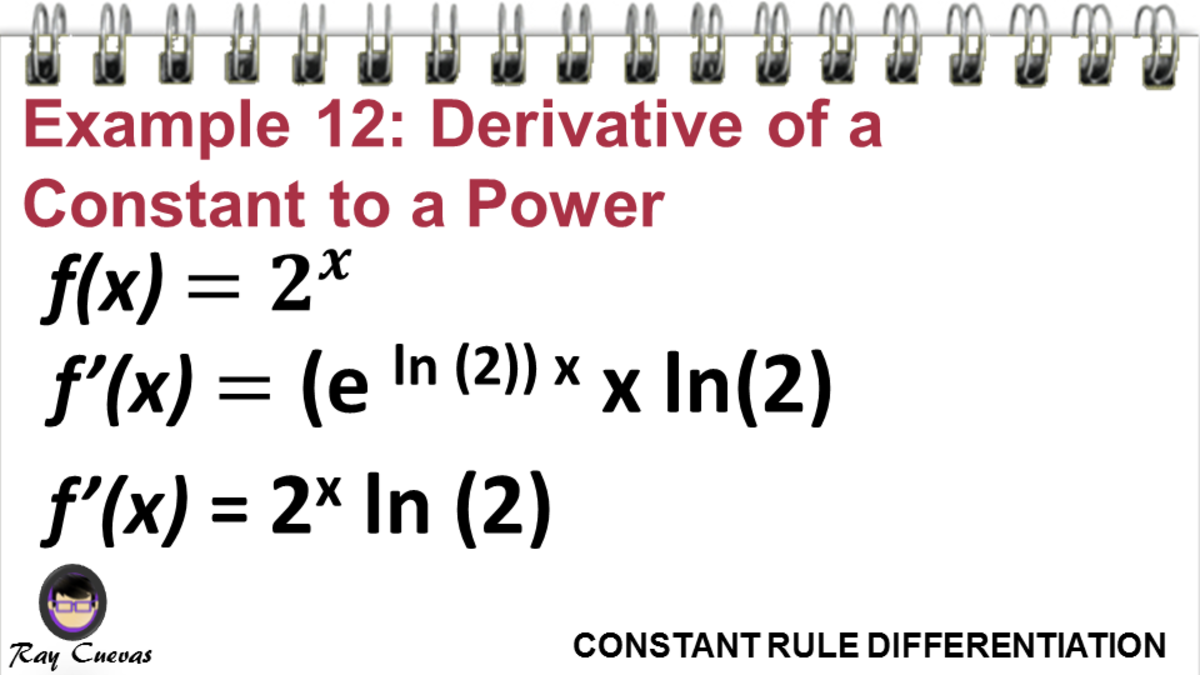 Example 12: Derivative of a Constant Raised to the X Power