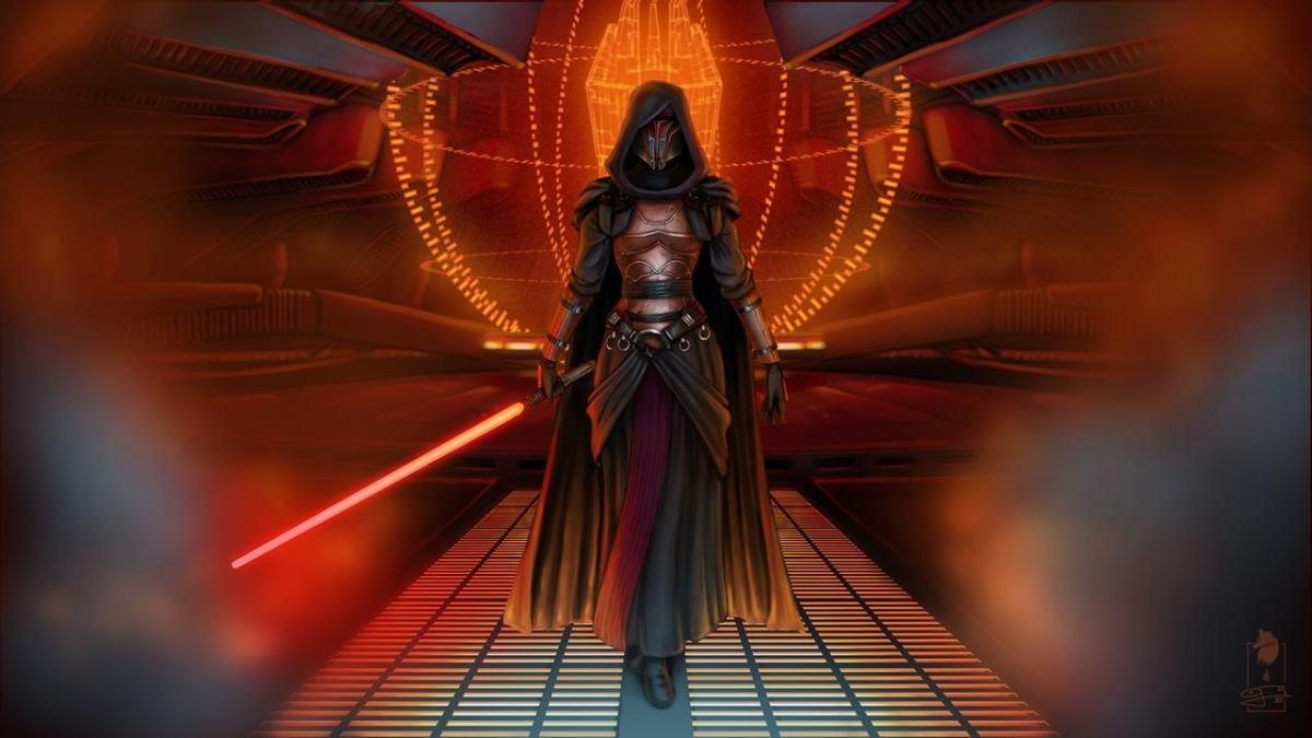 Fan art of female Revan being badass and evil.