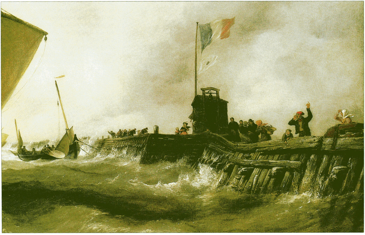 Calais Pier, Sloop returning to Port detail, oil painting by Edward William Cooke (1811-1880)