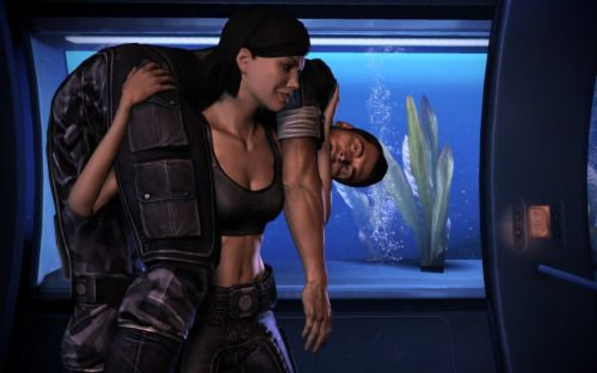 Jane Shepard carries Kaidan in a fan made render.