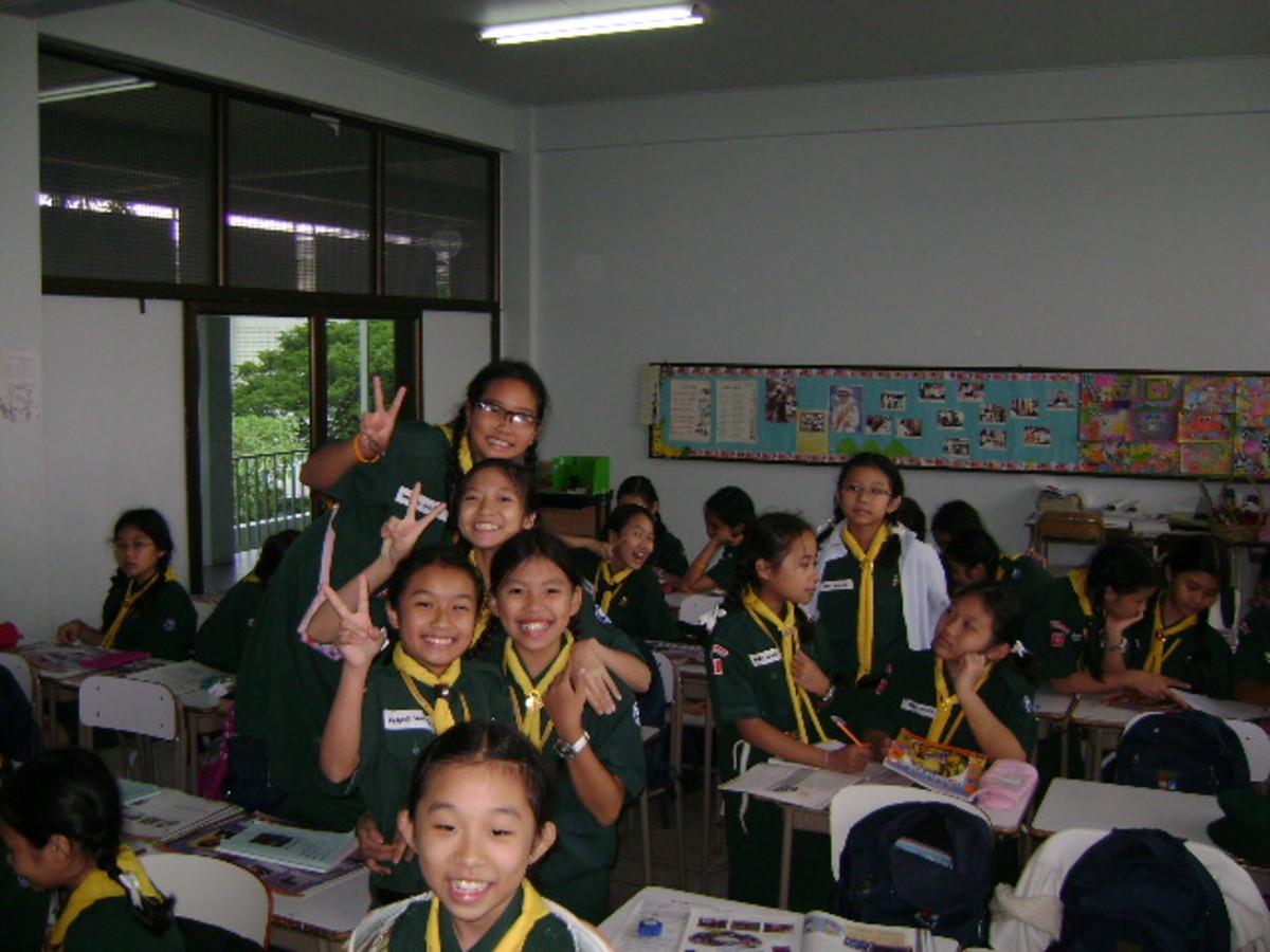 A sixth grade class of EFL students at Saint Joseph Bangna School in Thailand