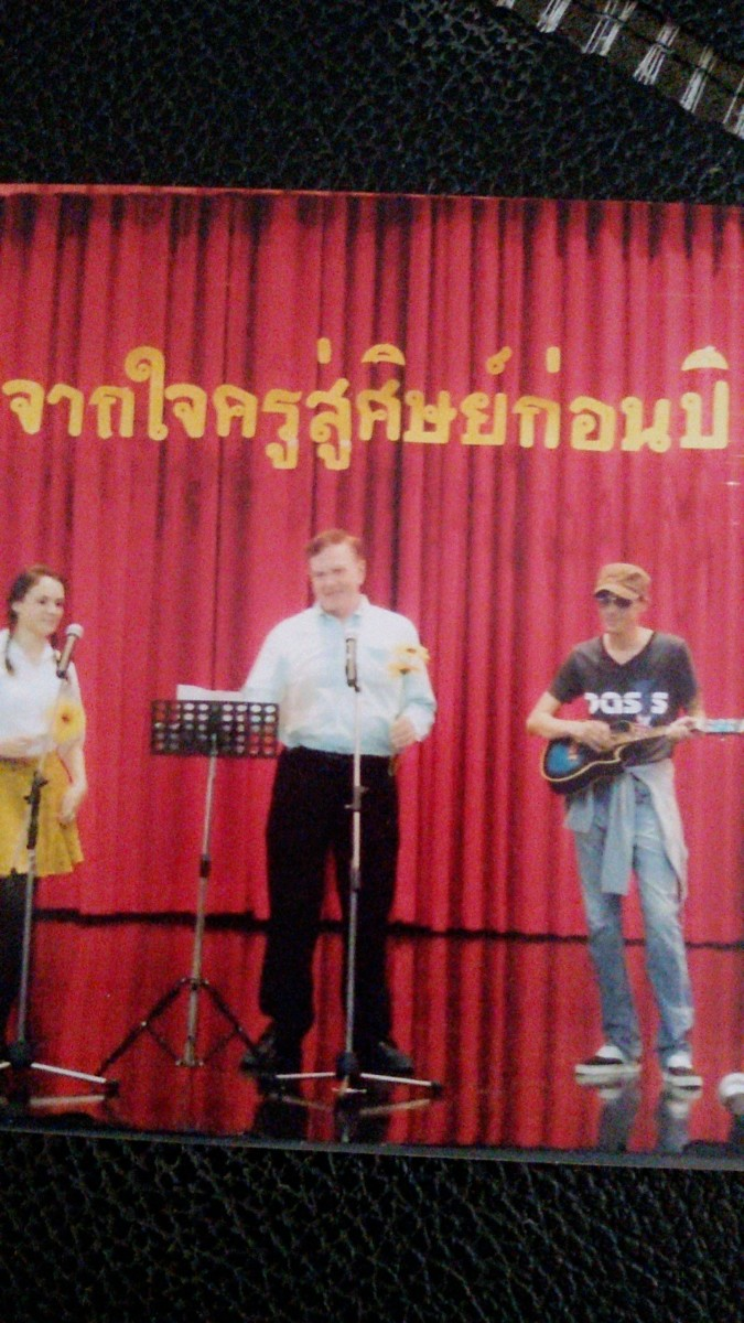 Performing with foreign teachers at a school assembly
