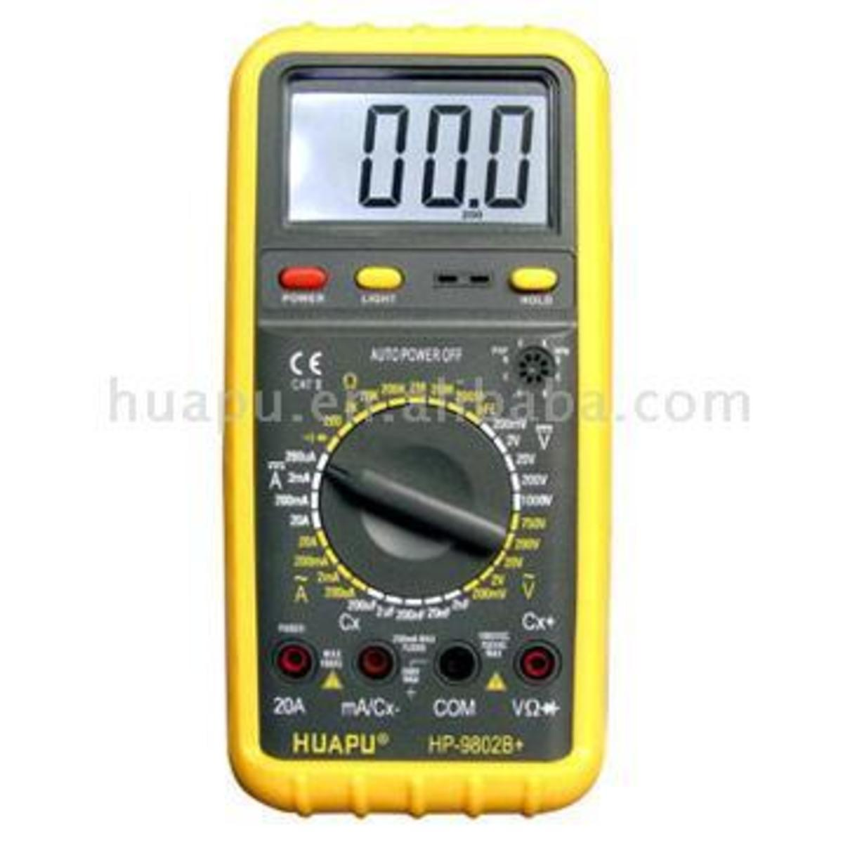 Digital multimeter, look for resistance settings or OHMS symbol
