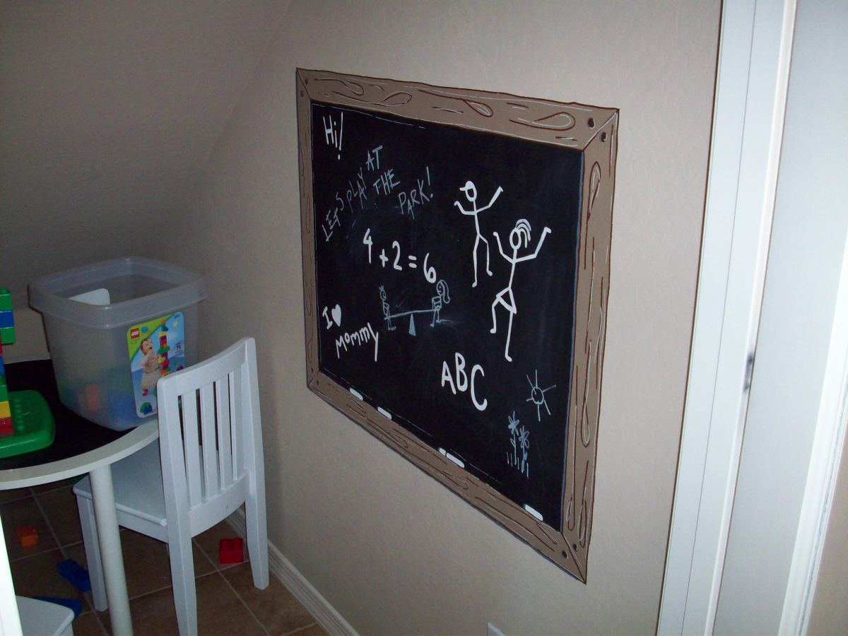 Chalkboard paint can be used to make a cute mural for a child's bedroom or playroom.