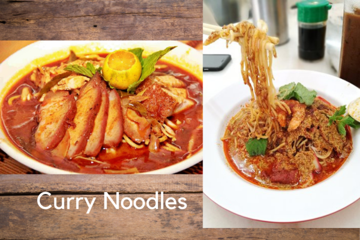 Two different types of curry noodles, the wet (left) and dry (right).