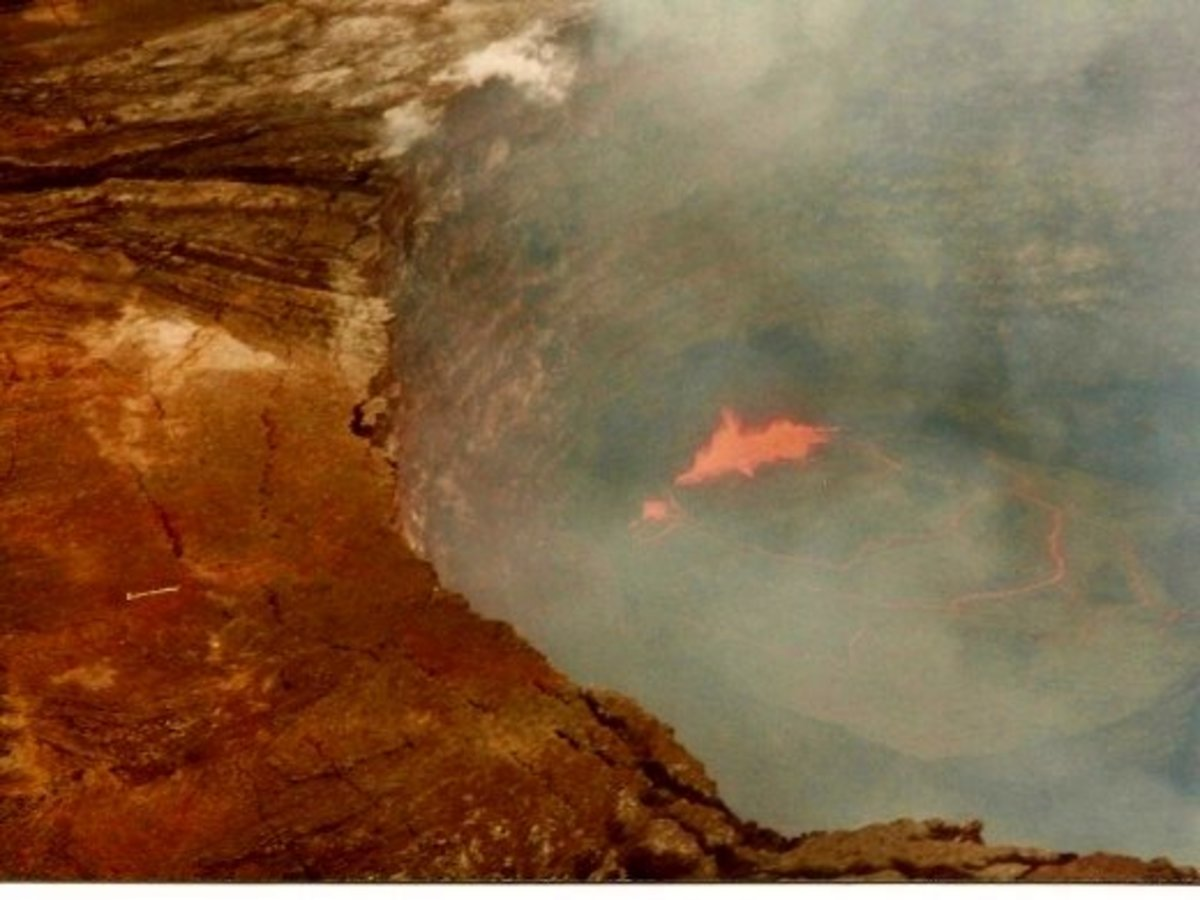 Fire in the pit of the volcano - Seeing Hawaii's Kilauea Volcano from the Papillon Helicopter