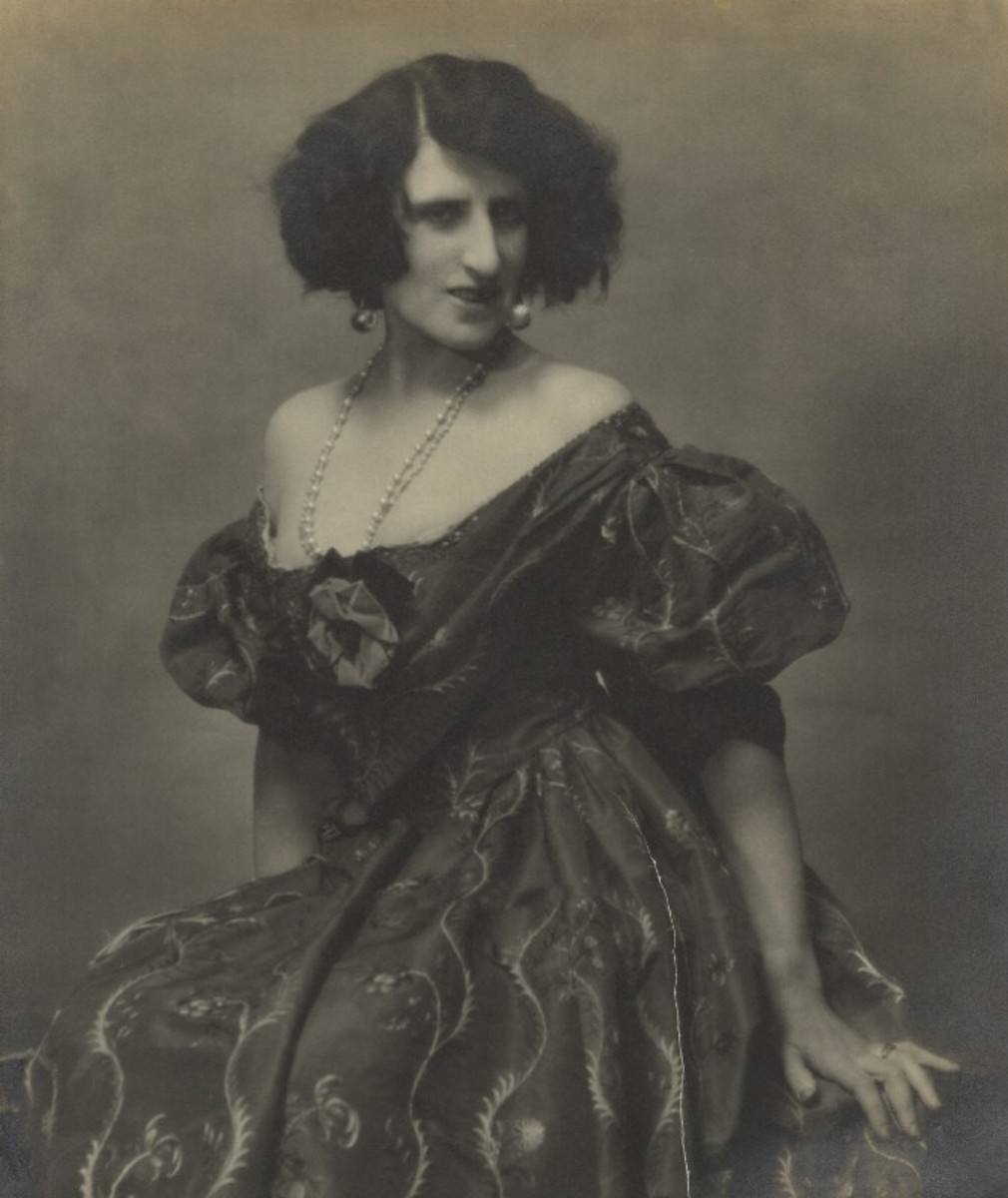 Lady Ottoline Morrell by Maurice Beck and Helen Macgregor chlorobromide print on black card, 1927