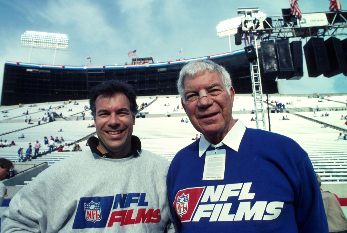 Steve (Right) and Ed Sabol (Left), pictured at Super Bowl XXV in 1991.