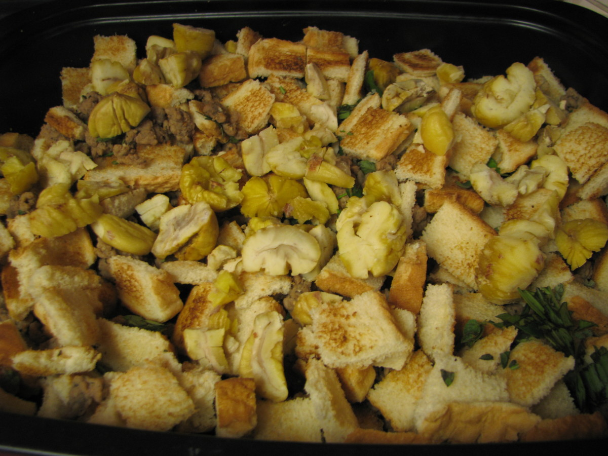 Chestnut stuffing mixture: Mix together toasted bread cubes, cooked sausage, herbs and chestnuts in a 13 by 9 inch pan.  Pour on the turkey broth and mix around.