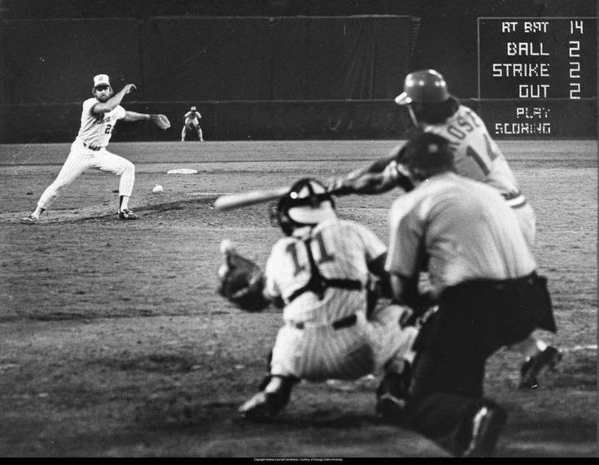 Gene Garber strikes out Rose to end the streak. August 1, 1978. Networks broke into their schedules to show this at bat; rare in the days before ESPN.