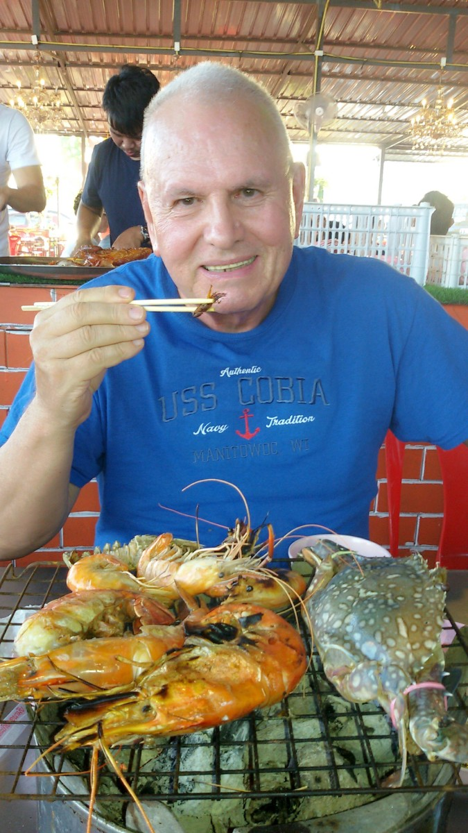 Author enjoying a seafood barbecue buffet.