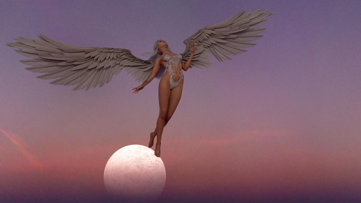 Angel, Wings Sunset, Sunrise, Skies, Planet, Stars
