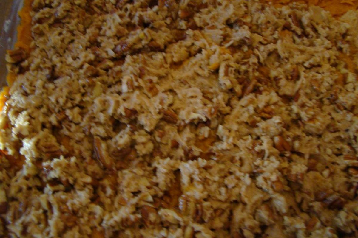 Sweet Potato Casserole with nut topping (just before being baked in the oven)