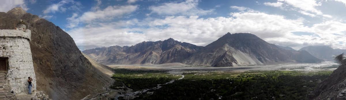 Panoramic shot of Ladakh monastery