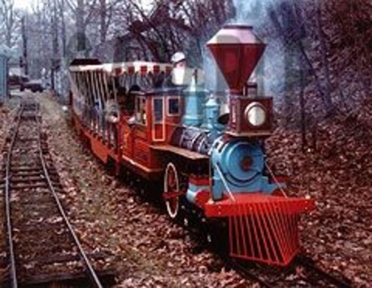 The C.P. Huntington train chugs out toward the back parking lot.