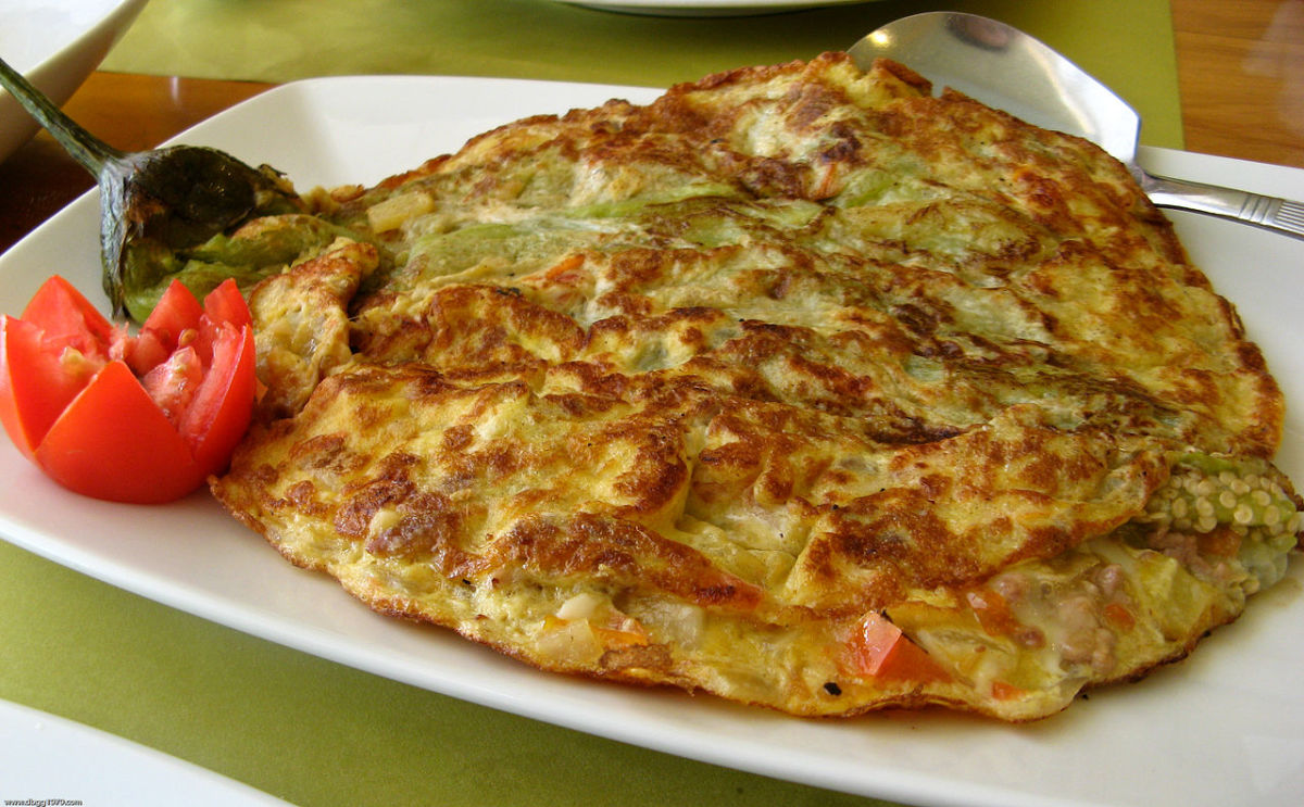 Filipino eggplant omelet with ground beef