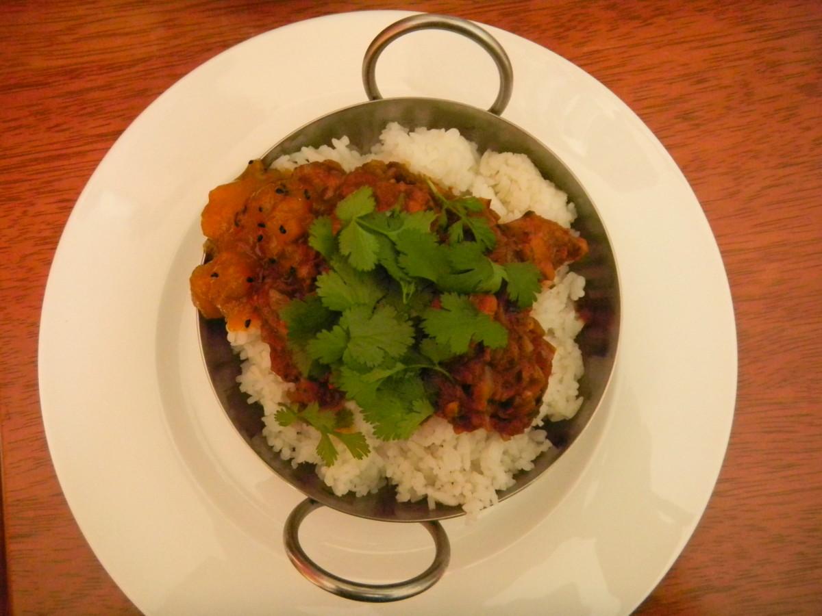 Serve in a Kahari with Indian breads, mango chutney and mint yogurt