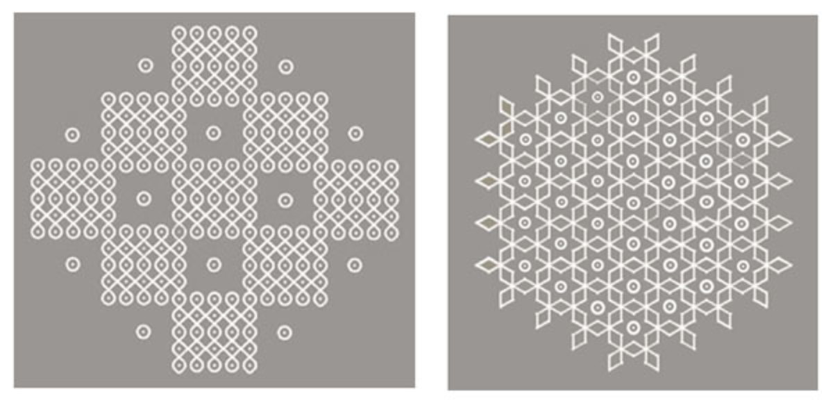 Large Kolam patterns created by repeating modules
