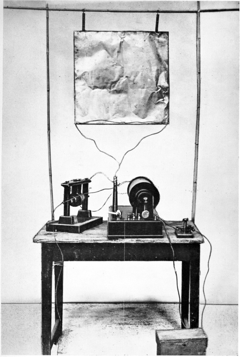 This is the recreation of the first radio transmitter with a monopole antenna, built by Guglielmo Marconi in August 1895 during his development of radio communication.