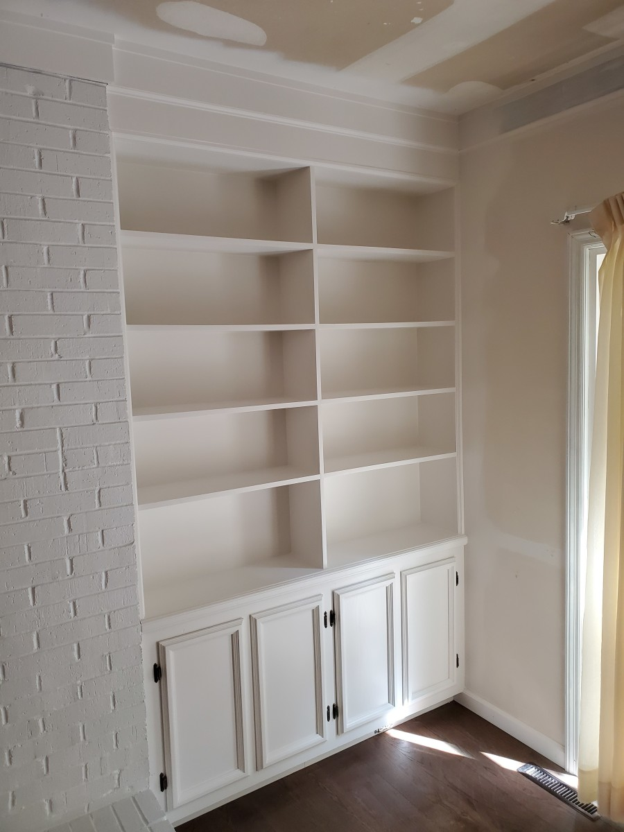 A built-in bookshelf I spray painted white.