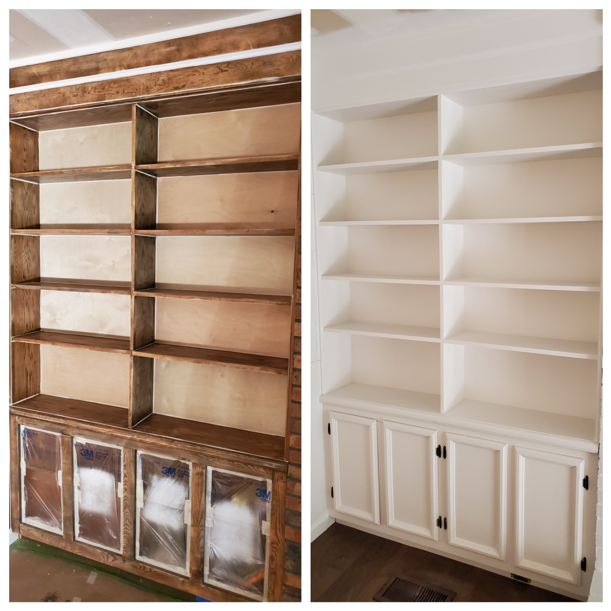 An oak bookshelf I spray painted with my HVLP sprayer.