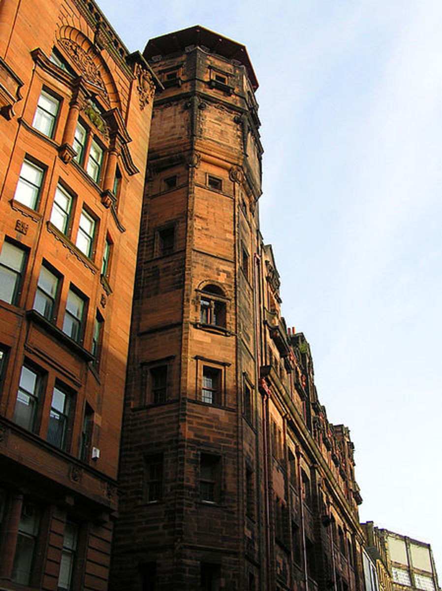 C.R.Mackintosh's Herald building in Glasgow, Scotland.Taken by Finlay McWalter on May 7th 2004. The tower was originally designed to be a water tower.