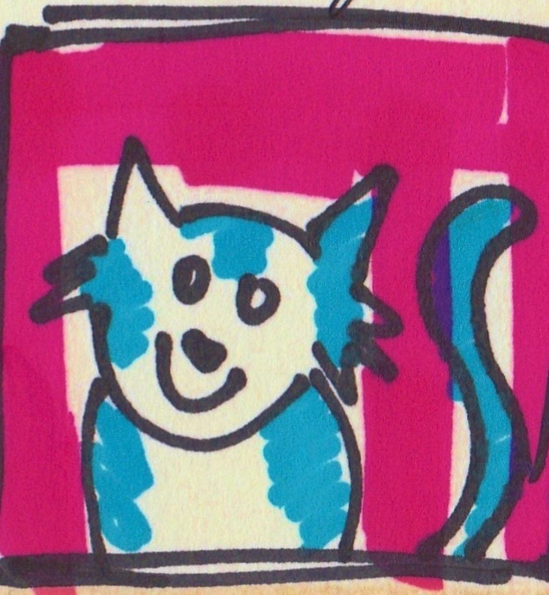 Try doing a quick and cheerful doodle like this one I did of my cat. Tiny drawings and cartoons will fit perfectly on the pages of your miniature journal.