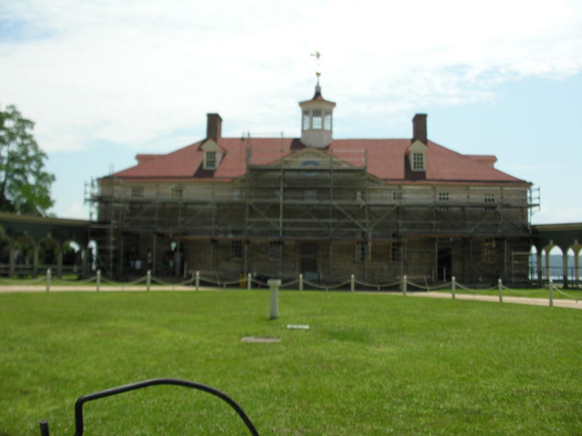 The Mount Vernon mansion under renovation, July 6, 2019.