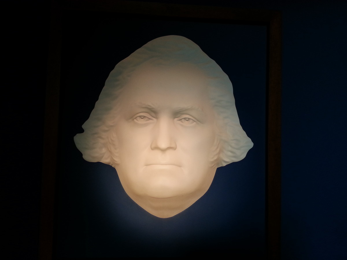 An image of George Washington's face, August 2013.