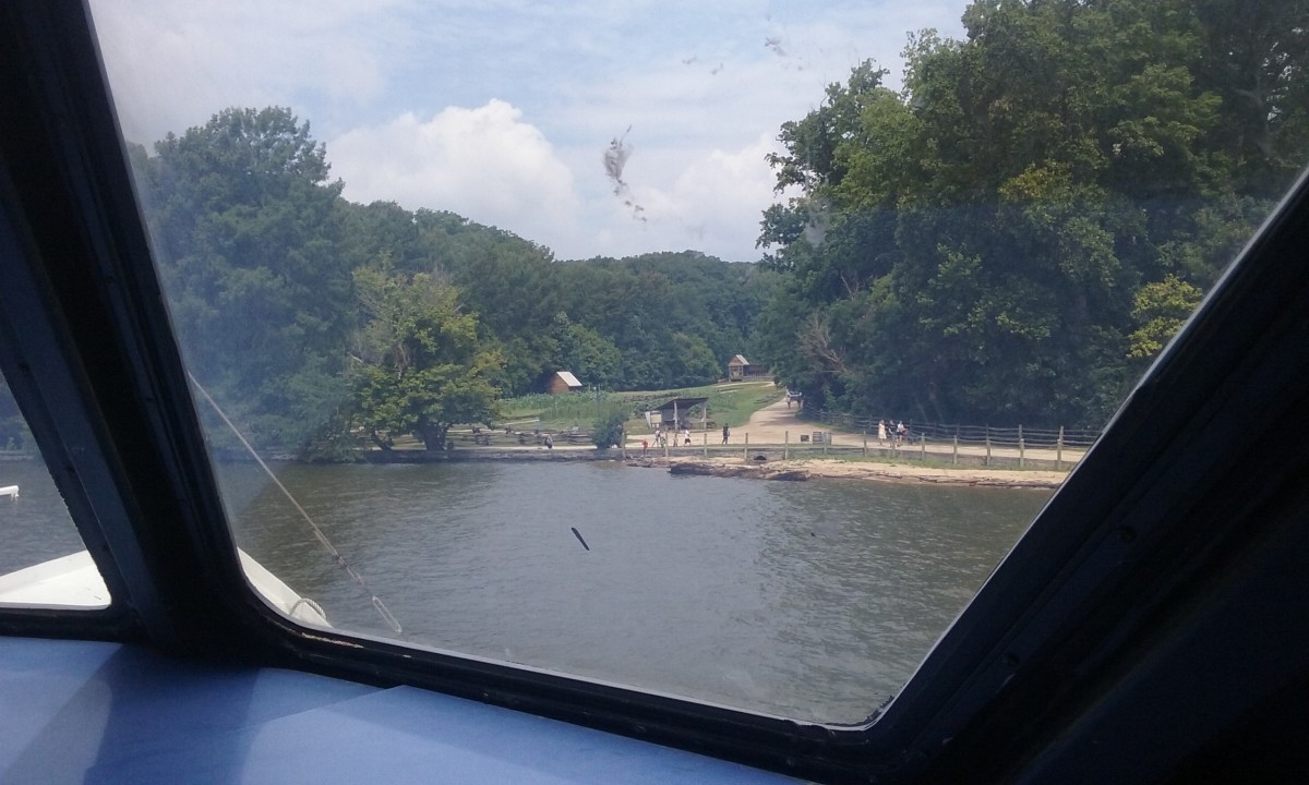 A view of the pioneer farm from inside the tour boat The Spirit of Washington.