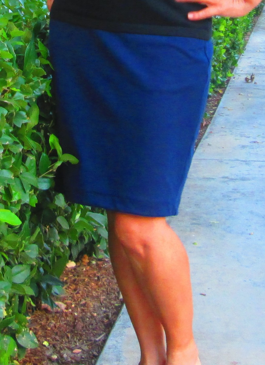 Navy pencil skirts are a classic to include in any wardrobe.